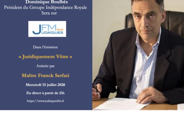 """Dominique Boulbès, invité dans l'émission """"Juridiquement vôtre"""""""