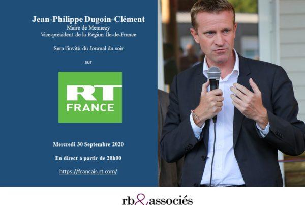 Jean-Philippe Dugoin-clément sera l'invité du journal du soir sur RT france