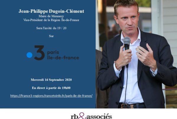 Jean-Philippe Dugoin-Clément sera l'invité sur France 3 Ile-de-FranceAnnonce presse 21 septembre