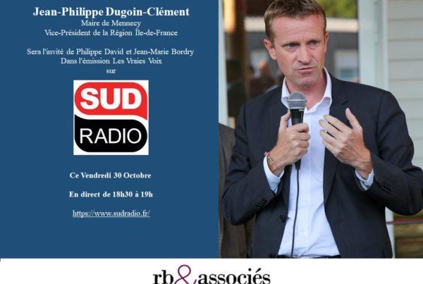 Jean-Philippe Dugoin-Clément, sera l'invité de Sud Radio