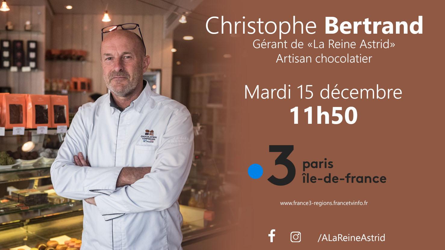 Christophe Bertrand, artisan chocolatier, sera l'invité de France 3 IDF, mardi 15 décembre