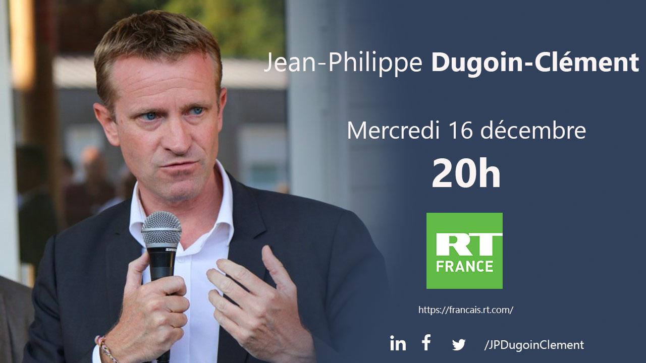 Jean-Philippe Dugoin-Clément, maire de Mennecy, sera l'invité de RT France le 16 décembre à 20h